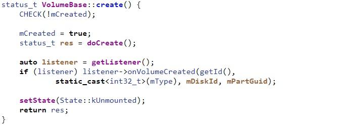 Android vold VolumeBase create method