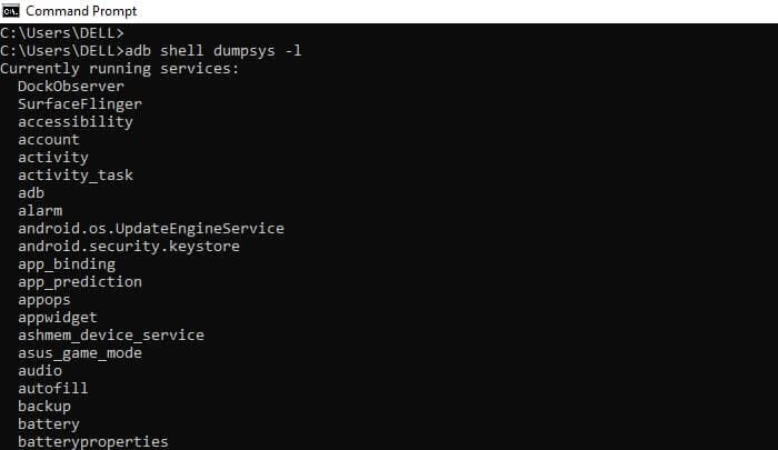 list dump services using android dumpsys tool