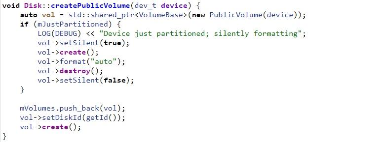 Android vold createPublicVolume